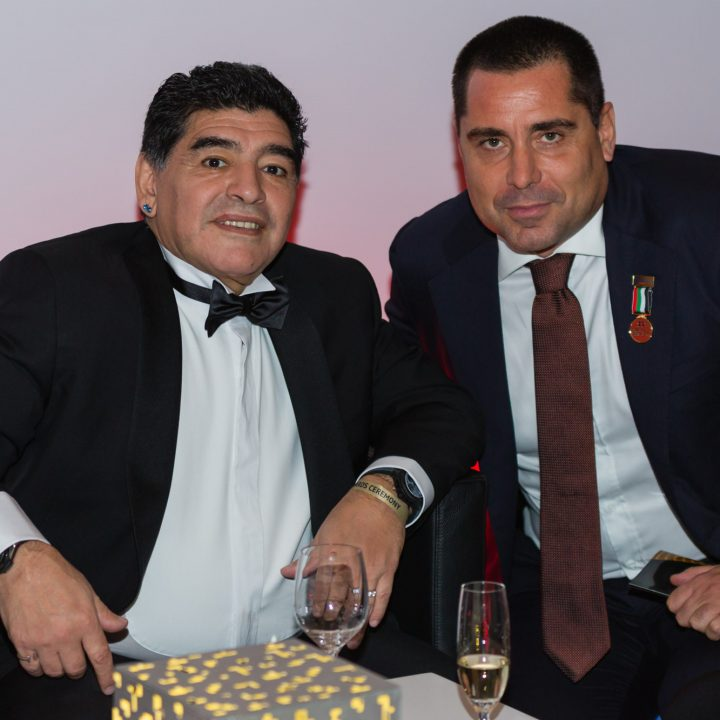 Riccardo Silva at the Globe Soccer Awards with Maradona