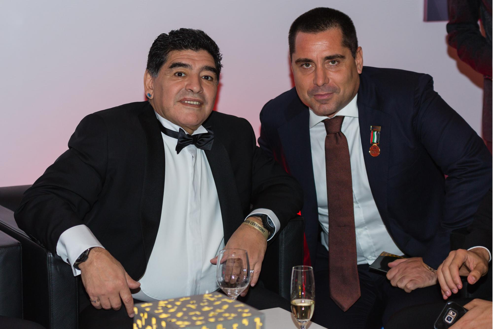 Riccardo Silva at the Globe Soccer Awards with Maradona