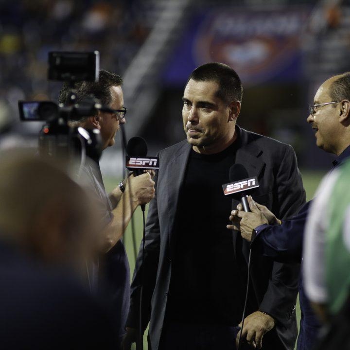 Riccardo Silva being interviewed at the Riccardo Silva Stadium