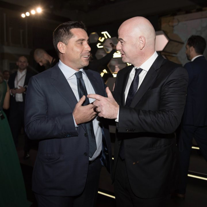 Riccardo Silva and Gianni Infantino, President of FIFA at the Globe Soccer Awards – Dubai 2017