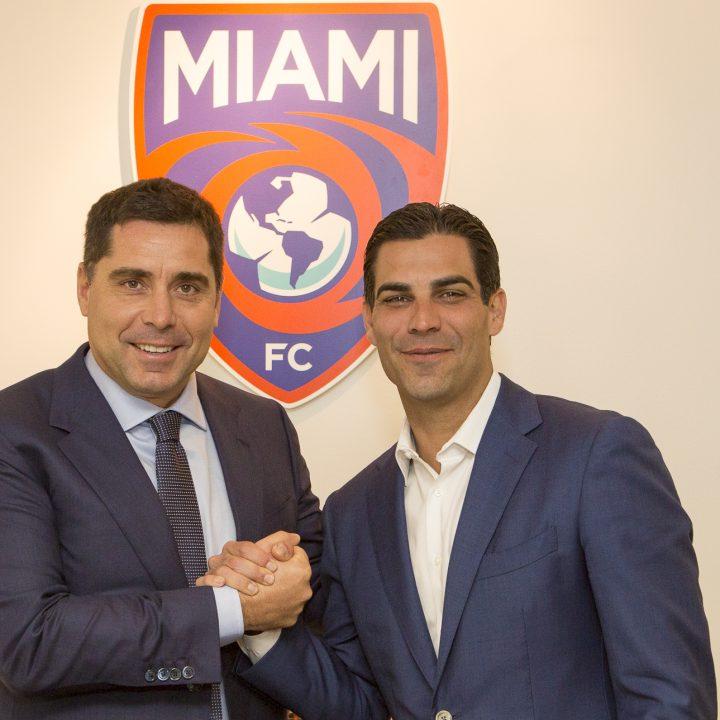 Riccardo Silva and the Mayor of Miami, Francis X. Suarez at The Miami FC office