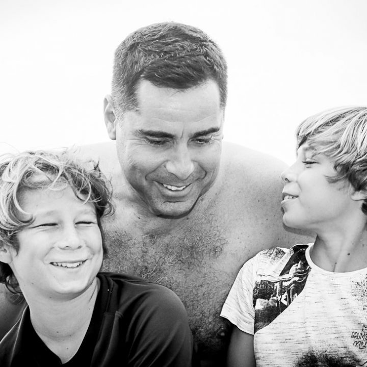 Riccardo Silva with his sons Giorgio Silva and Nikolay Silva during a vacation in Italy