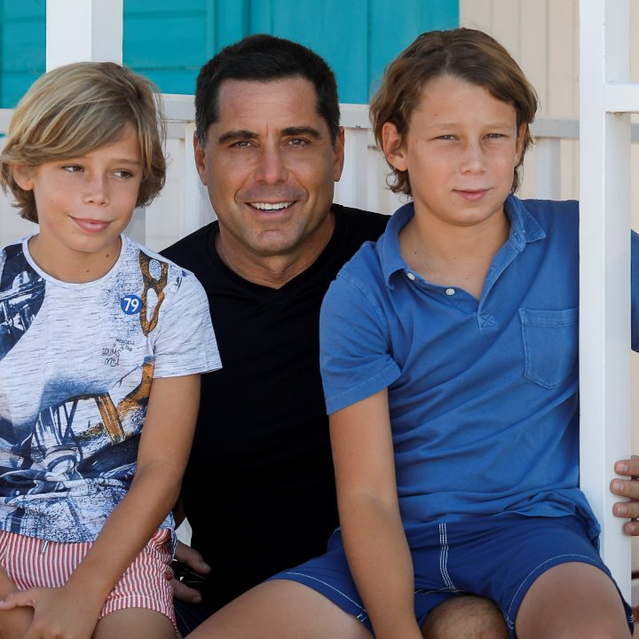 Riccardo Silva and his sons during a family vacation