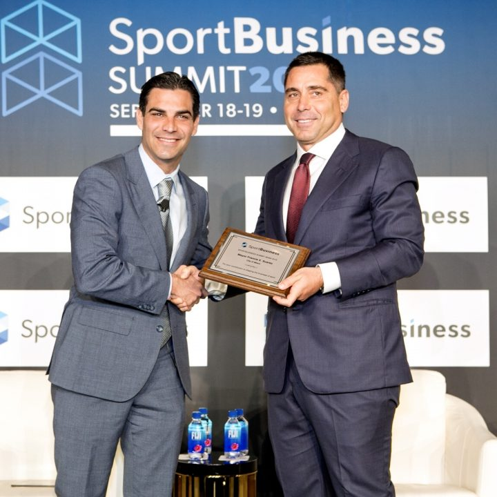 Riccardo Silva and Francis X Suarez, the Mayor of Miami at the SportBusiness Summit 2018