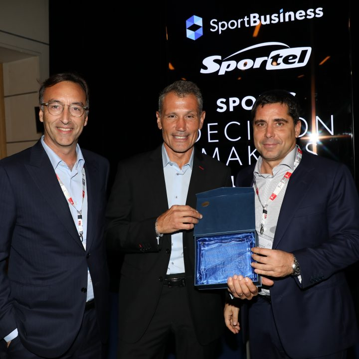 Marco Auletta, Laurent Puons, and Riccardo Silva at the launch of Sports Decision Makers Summit, announced at Sportel Monaco 2018
