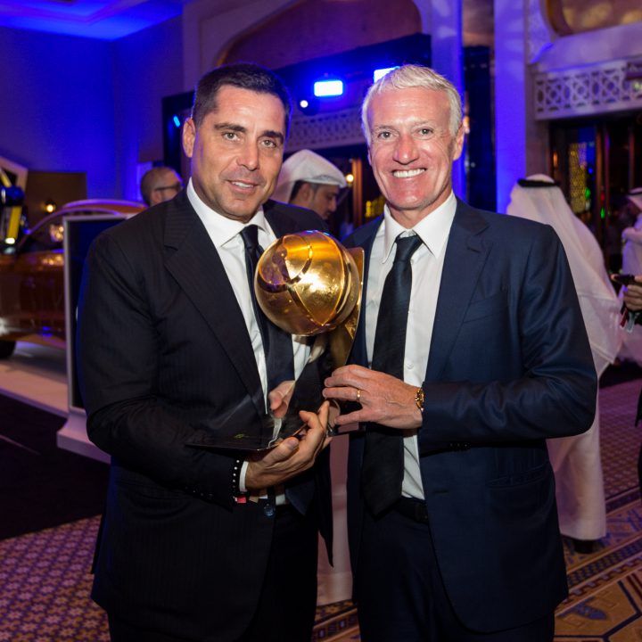 Riccardo Silva and the Manager of the France national team, Didier Deschamps at the Globe Soccer Awards 2019 in Dubai