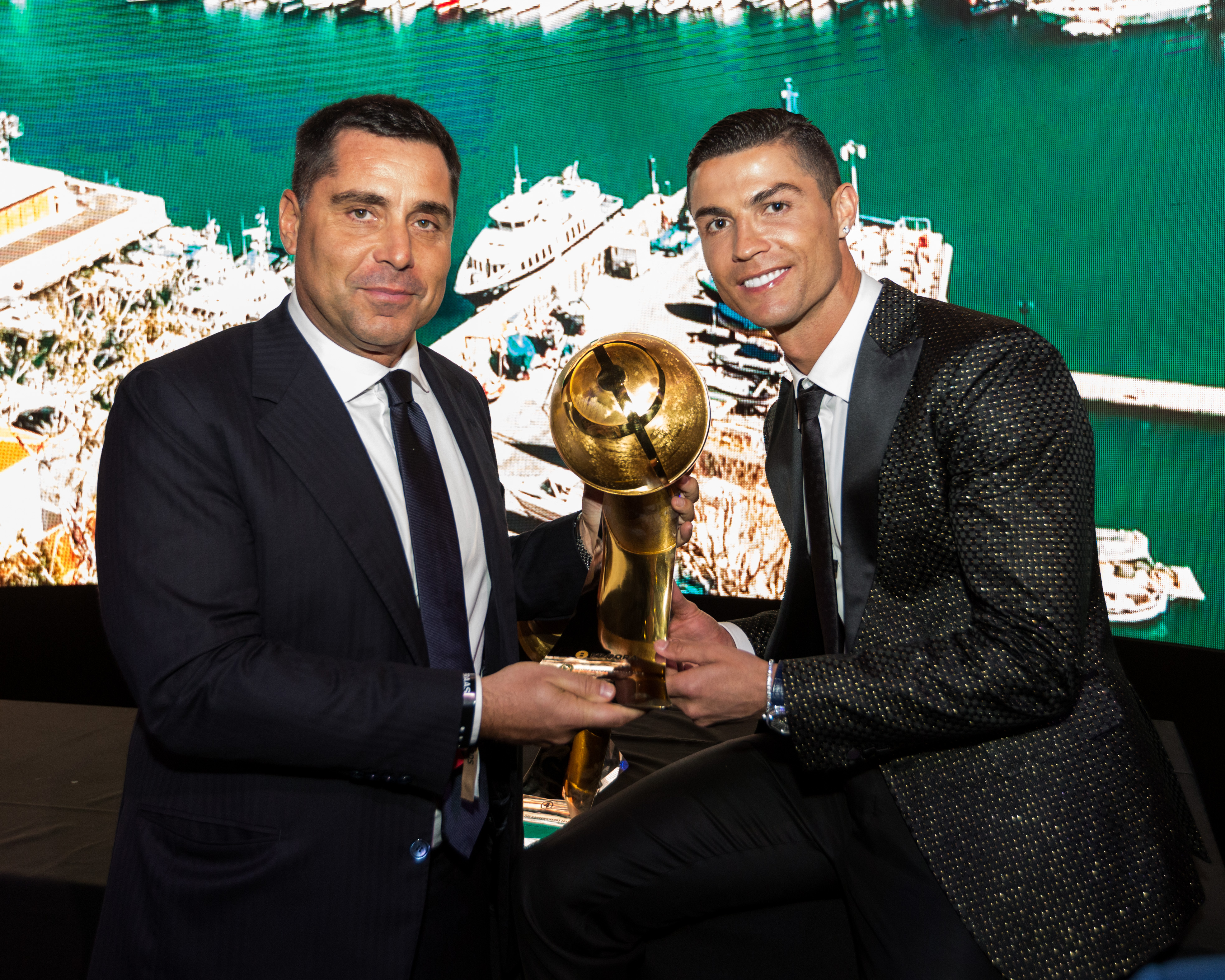 Riccardo Silva and Cristiano Ronaldo at Globe Soccer in Dubai