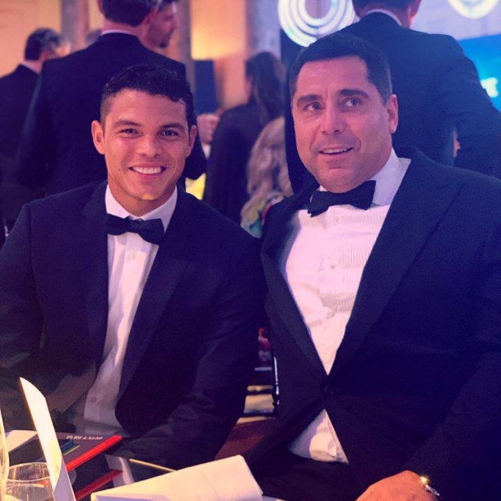 Riccardo Silva and Thiago Silva, central defender for Paris Saint-Germain at the PSG Children First Foundation Gala 2019