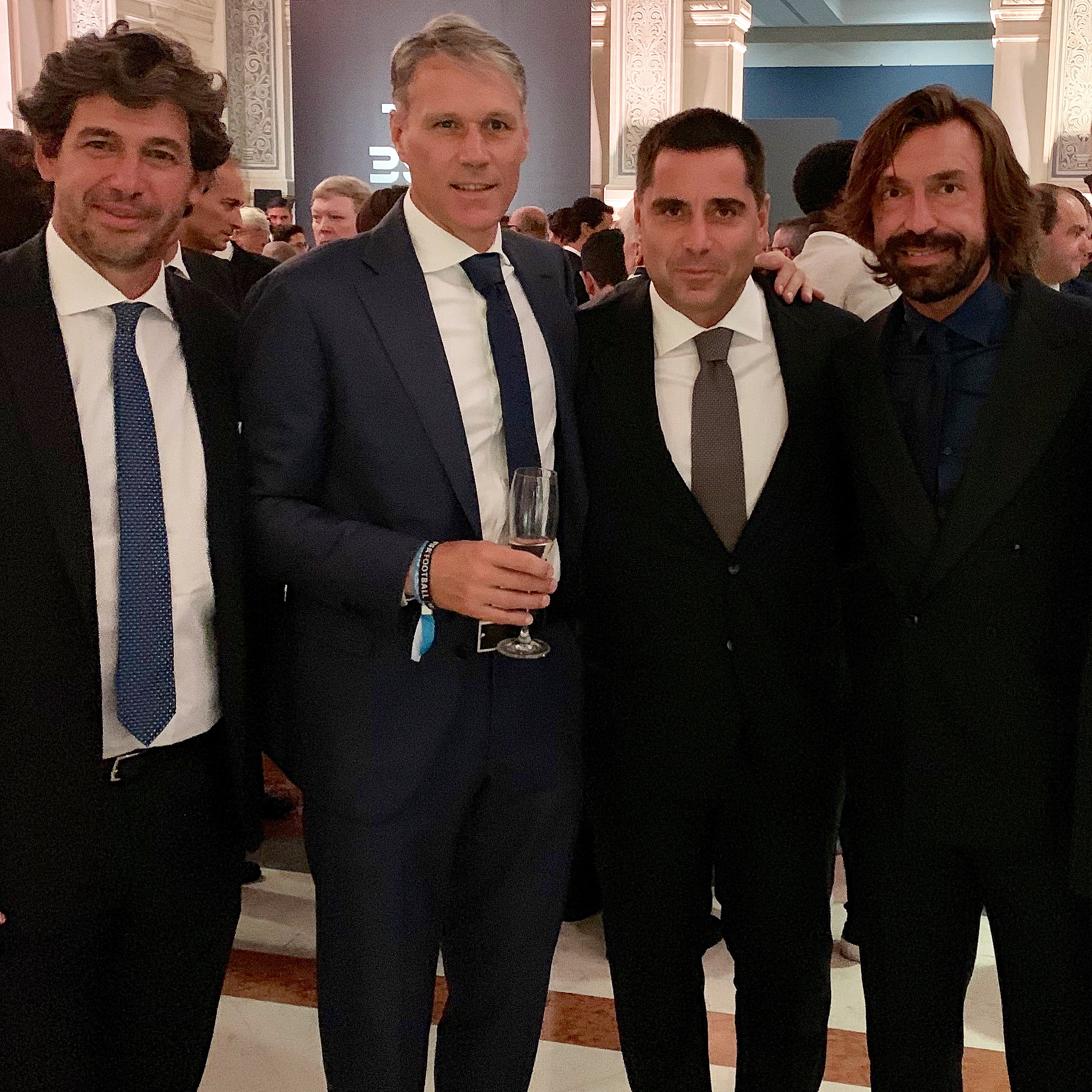 Silva International Investments and The Miami FC Owner Riccardo Silva alongside AC Milan Legends Demetrio Albertini, Marco Van Basten and Andrea Pirlo at The Best FIFA Football Awards in Milan