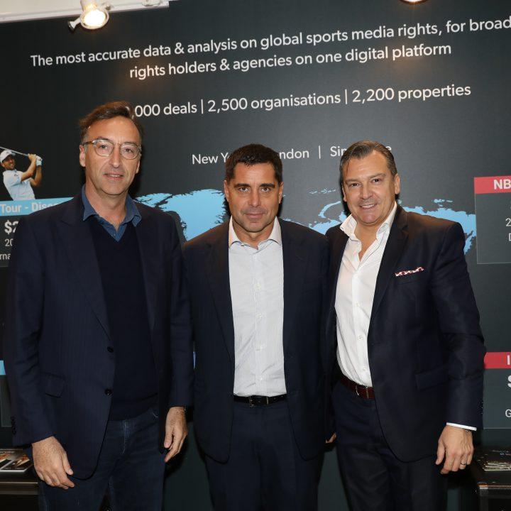 Marco Auletta CEO of Silva International Investments, Riccardo Silva and Roberto Dalmiglio CEO of SporBusiness at Sportel Monaco 2019