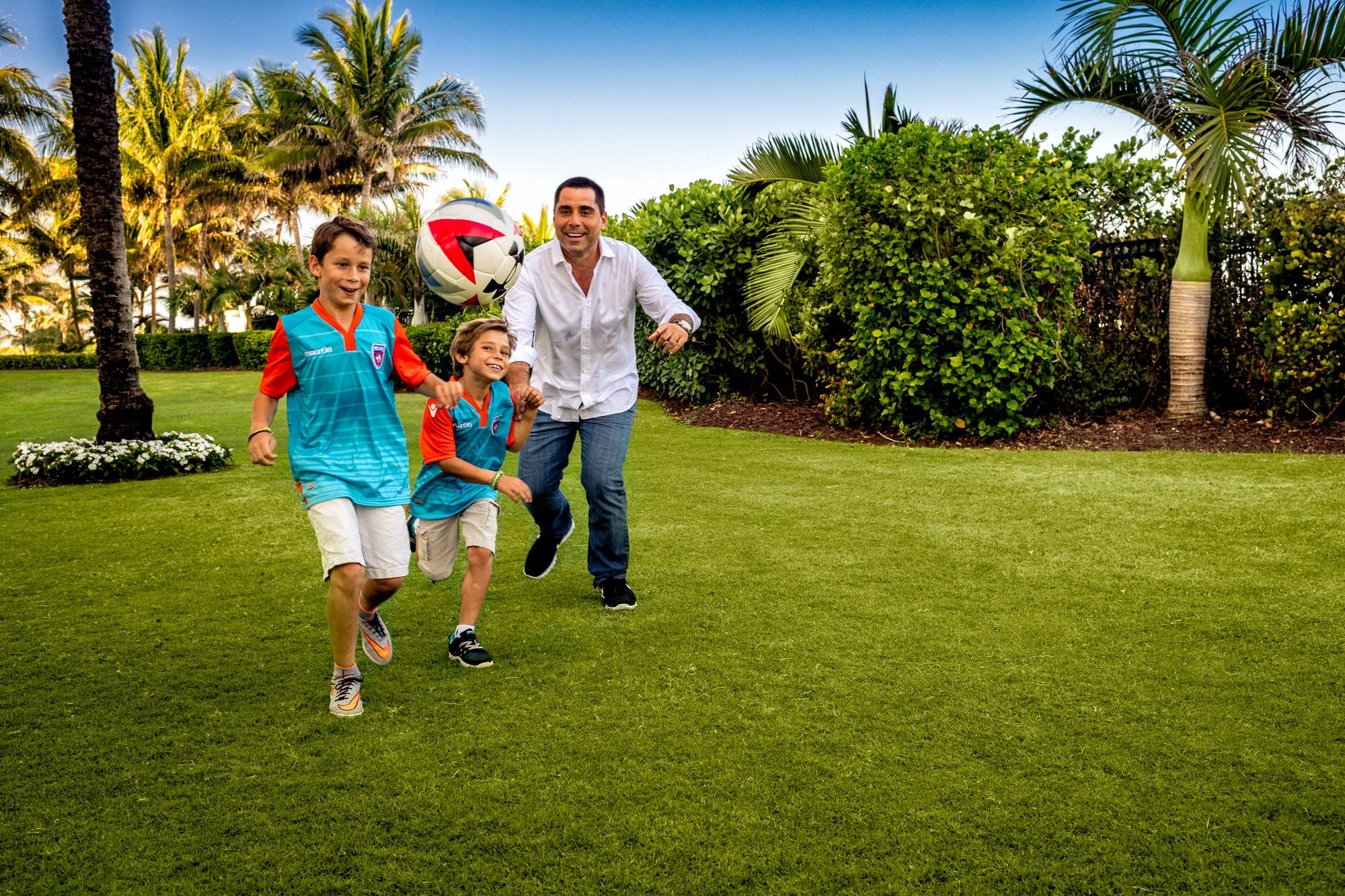 Riccardo Silva with his boys who love football
