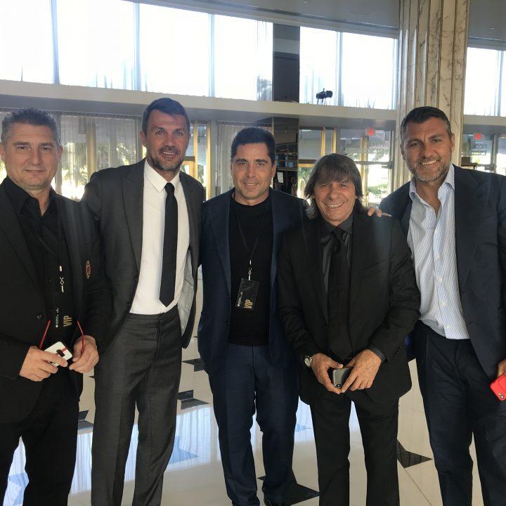 Riccardo Silva with Italian legends Daniele Massaro, Paolo Maldini, Bruno Conti and Christian Vieri at Fontainebleau Miami for the launch of the International Champions Cup