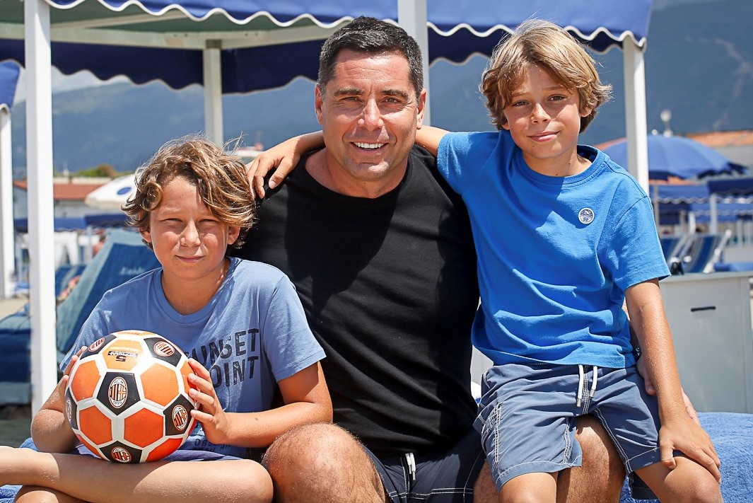 Riccardo Silva with his sons Giorgio Silva and Nikolay Silva at Forte dei Marmi – Italy