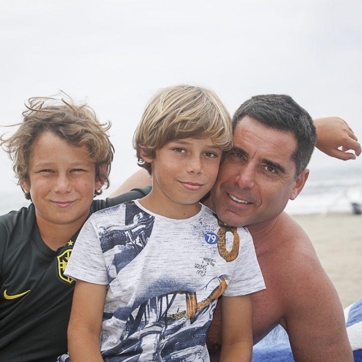 Riccardo Silva with his sons Giorgio Silva and Nikolay Silva during family trip in Italy