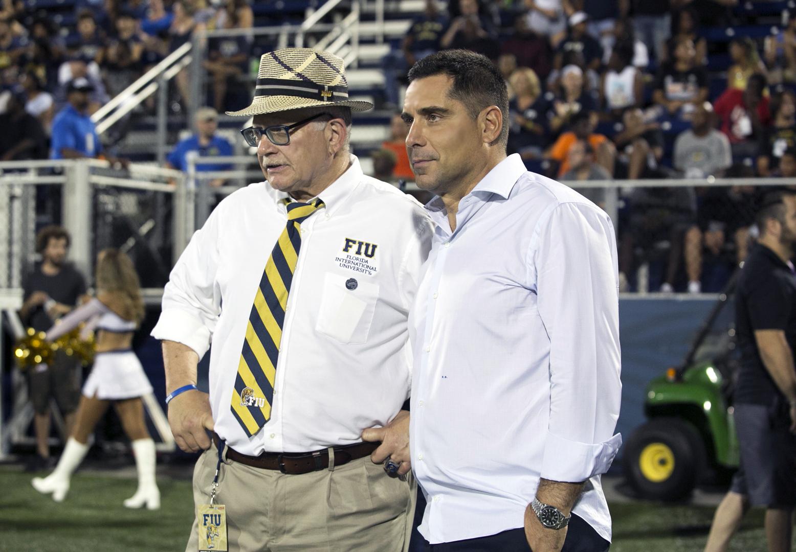 Riccardo Silva and The President of FIU, Dr Mark Rosenberg at Riccardo Silva Stadium