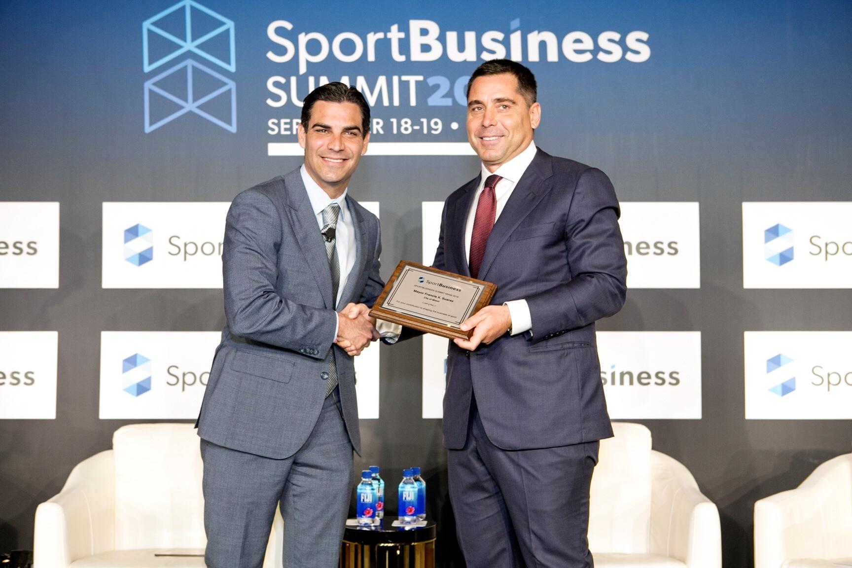 Riccardo Silva and Francis X Suarez, the Mayor of Miami at the SportBusiness Summit 2018